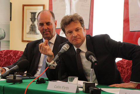 Colin Firth at G8 Summit Leader Letter 書く Awards