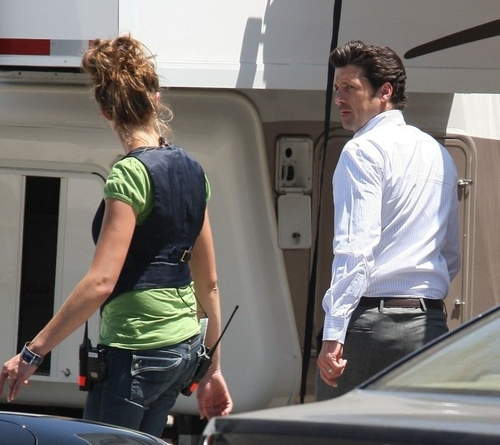 Patrick Dempsey on the set of Valentine's Day