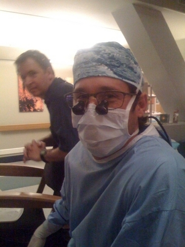 Patrick on the set of Grey's xxx