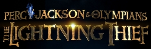 Percy Jackson & The Olympians Bücher Hintergrund possibly with a diner, a tavern, and an atlantic herring titled Percy Jackson and the Olympians: The Lightning Thief logo