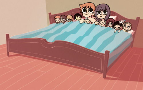 Scott Pilgrim wallpaper possibly containing a trundle bed entitled Scott Pilgrim Wallpaper