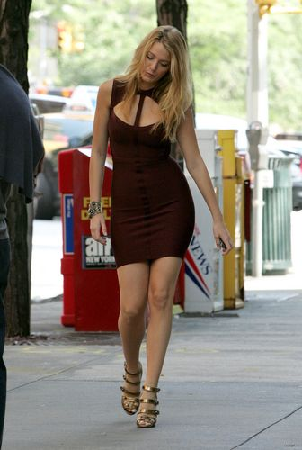 Serena van Der Woodsen wolpeyper possibly with bare legs, tights, and a hip boot entitled Serena