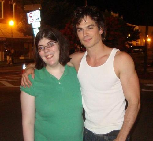 Gossip Girl Spoiler Whores 壁纸 possibly containing a top, a playsuit, and tights entitled Tiff and Ian Somerhalder from Vampire Diaries