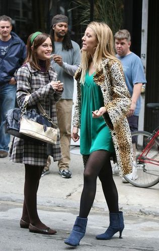 Serena and Blair wallpaper probably containing a fur coat and a hip boot titled season 1