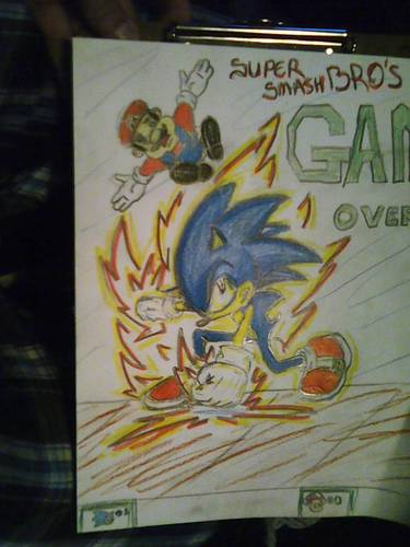 sonic smashes mario - super-mario-bros Fan Art