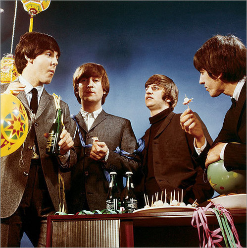 Beatles with champagne
