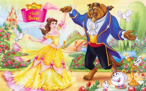 Disney Couples wallpaper possibly containing anime titled Belle and Beast