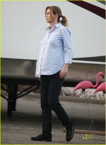 Ellen and Katherine on set shooting