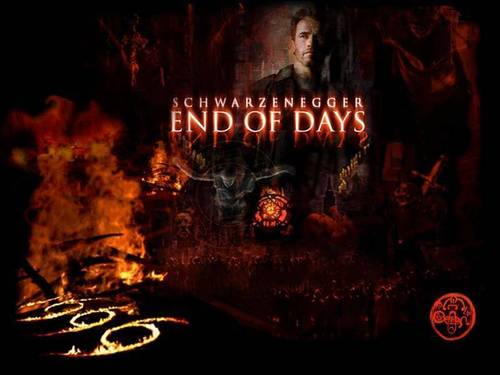 Film horror wallpaper possibly with a fire, a fire, and a sign titled End of Days