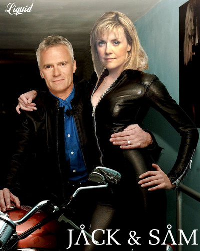 Samantha Carter achtergrond containing a hip boot and a well dressed person called JACK AND SAM LOVE MOTORBIKE