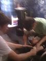 Medic Fixing Up Sean's Leg