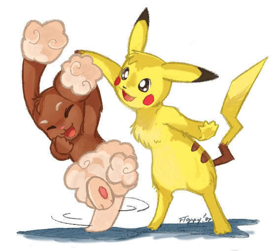 Pikachu Amp Friends Pikachu And Pachirisu Lovers Fan Art