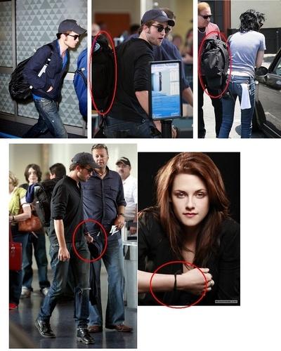 Rob & KStew share bags, bracelets