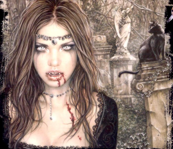 vampire woman statue