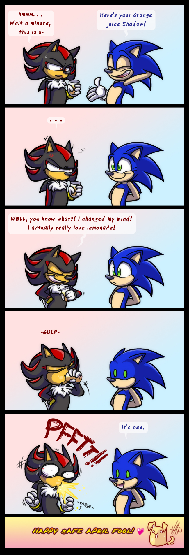 Shadow Drinking Pee Sonic The Hedgehog