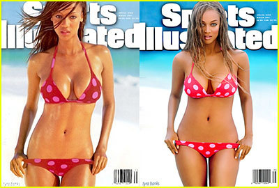 Tyra Banks wallpaper containing a bikini titled tyra covers before and after