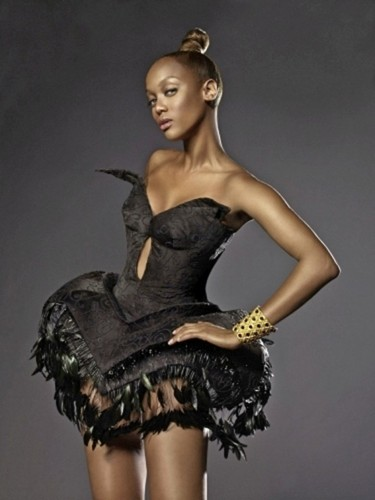 Tyra Banks wallpaper probably containing a cocktail dress and a bustier titled tyra