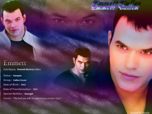 Twilight Movie wallpaper possibly containing a hot tub and a portrait called *Emmett Cullen*