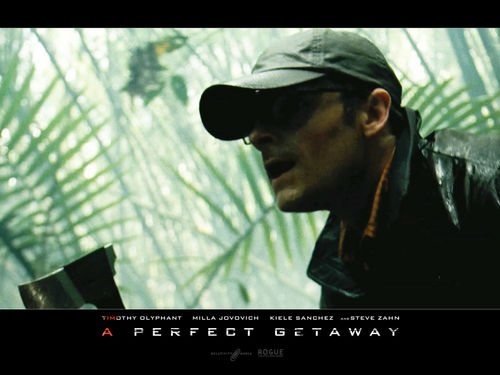 Horror films achtergrond probably with a sign entitled A Perfect Getaway (2009) achtergronden