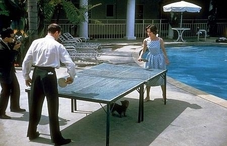 Audrey and Mel playing ping-pong at the Bel Air Hotel