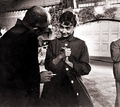 Audrey and director William Wilder talking on the set of Sabrina