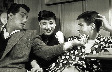 Audrey Hepburn wallpaper with a business suit entitled Audrey with Jerry Lewis and Dean Martin