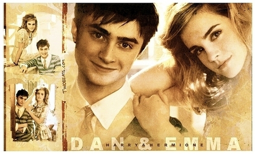 Daniel Radcliffe&Emma Watson achtergrond with a portrait called Dan and Emma