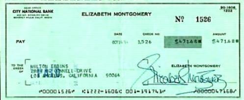 Elizabeth Montgomery Signed Cheque