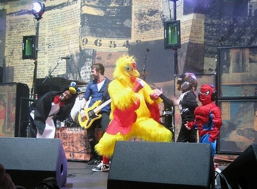 Paramore with Teletubbies, Spiderman & some other weird creatures :D