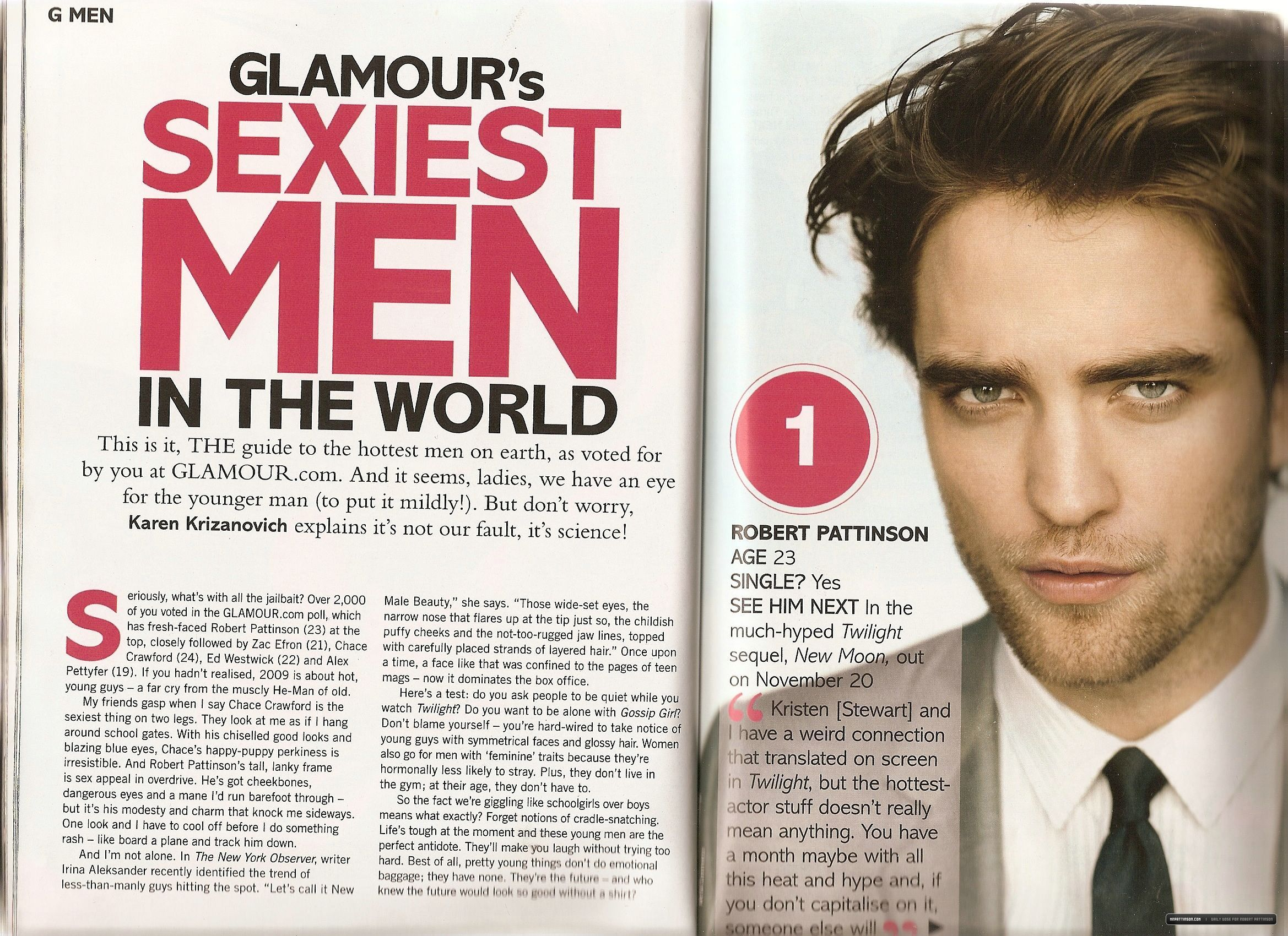 Rob elected hottest man in the wolrd (by glamour.com)