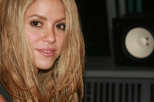 Shakira in a recording studio in Paris