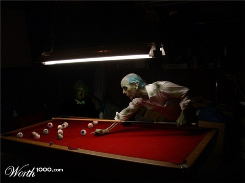 Horrorfilme Hintergrund containing a billiard room, a pool table, and a billardzimmer, billard-raum called Zombie Pool