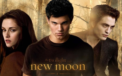 bella, Jacob and Edward - New Moon Wallpaper