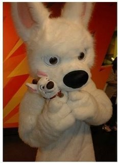 bolt costume holding toy