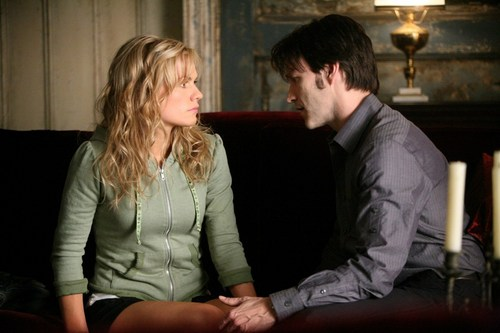 Anna and Stephen as Sookie and Bill in HBO series True Blood