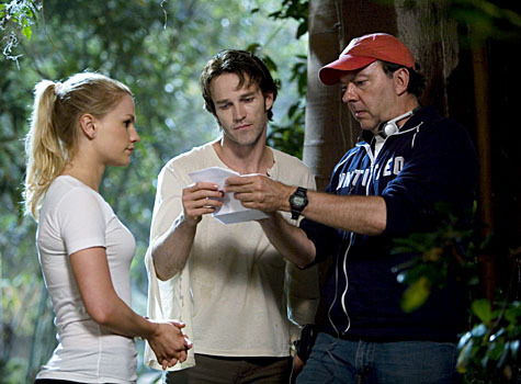 Anna and Stephen on set of True Blood