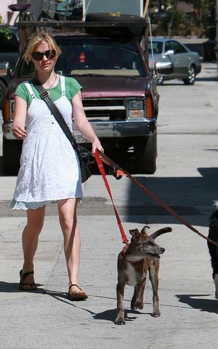 Anna walking her 狗