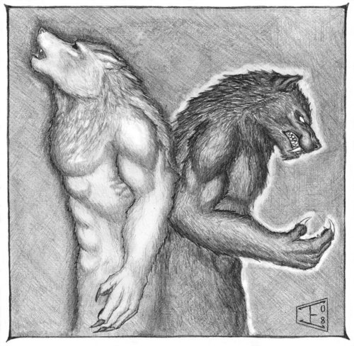 Black and White werewolves - mythical-creatures Photo