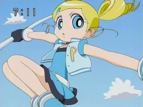 Bubbles (PowerPuff Girls) kertas dinding with Anime titled Bubbles