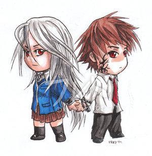 chibi Moka and Tsukune