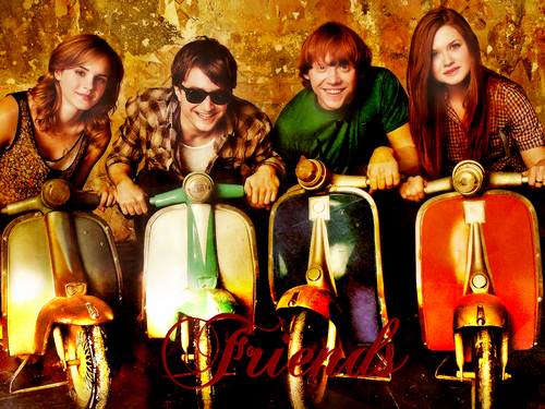 Dan, Rupert, Emma and Bonnie riding motorcycles!!! So funny one!