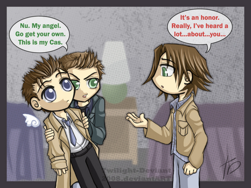 Dean and Castiel wallpaper with anime titled Dean & Castiel + Sam