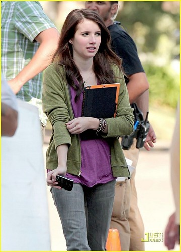Emma Roberts on Set