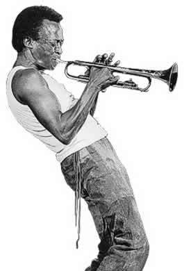 Jazz wallpaper probably containing a bugle, a cornet, and an euphonium called Miles Davis