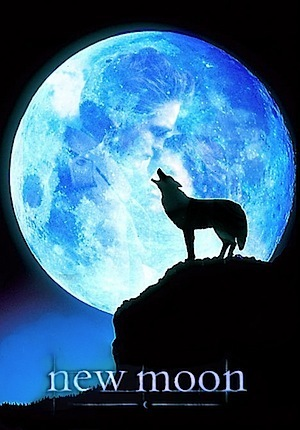 New Moon Poster (fan made) - Wolf Howling at the Blue Moon