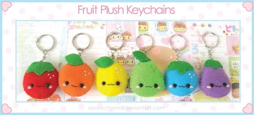 Plush Fruit Keychains