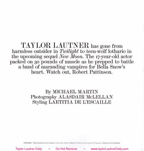 Taylor Lautner- Interview Magazine
