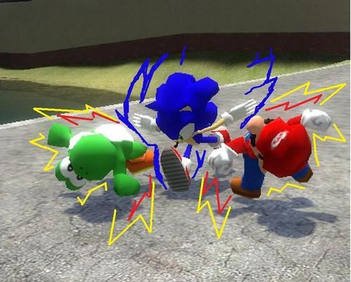 mario and yoshie have no chance against sonic