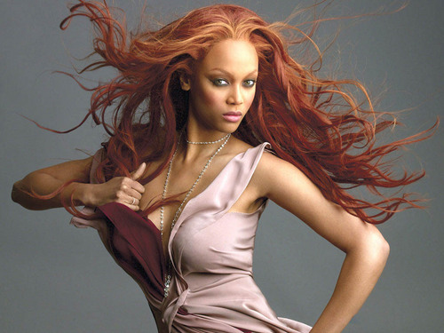 Tyra Banks wolpeyper probably with a kaktel dress, a bustier, and a hapunan dress titled tyra