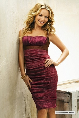 Becki Newton 바탕화면 possibly with a 칵테일 dress, a strapless, and a chemise titled TV Guide (2008)